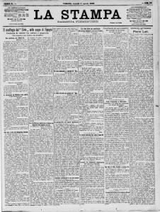 La Stampa del 6 agosto 1906 con l'annuncio del naufragio del Sirio
