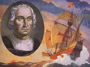 Cristoforo Colombo ed una delle sue caravelle