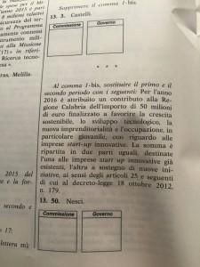 Il testo dell'emendamento della Nesci