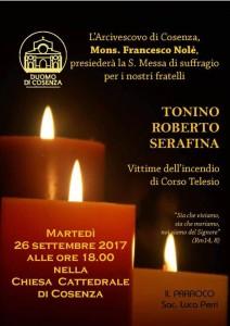 Messa per le vittime del rogo di Corso Telesio