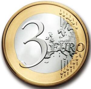 Falsa moneta di tre euro