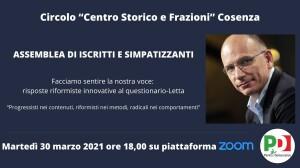 """Assemblea del Circolo PD """"Centro Storico e Frazioni"""" del 30 marzo 2021"""